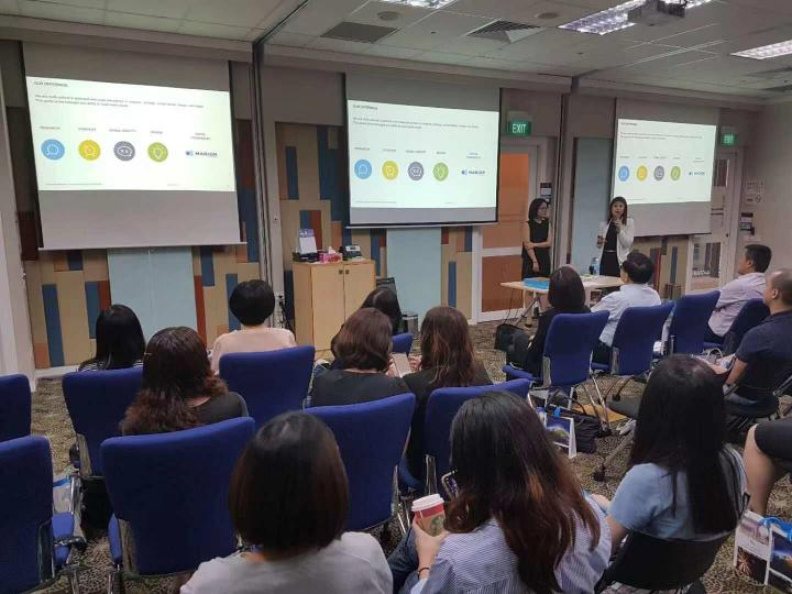 Labbrand Creative Director Judy Want and Managing Director Melyssa Koh presenting at China Briefing Talk in Singapore